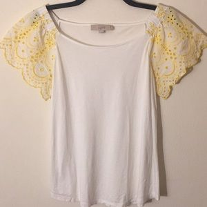 Loft White Butterfly Sleeves Top - Size Small